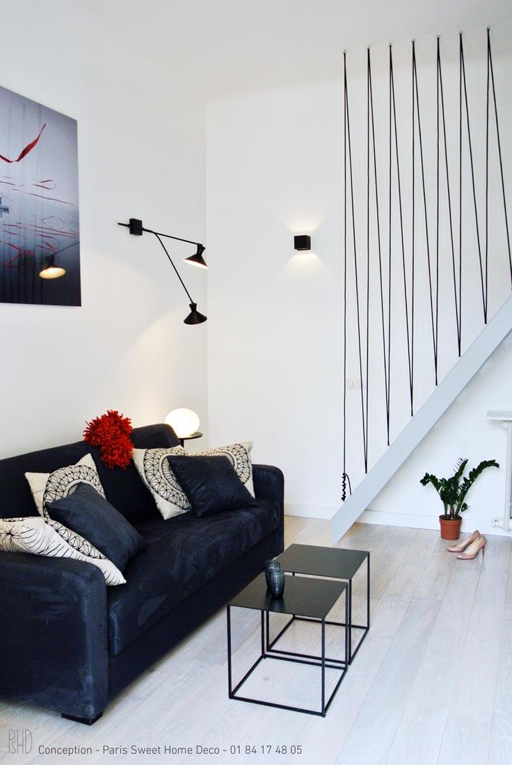 paris sweet home deco Airbnb champs elysées rénovation décoration salon