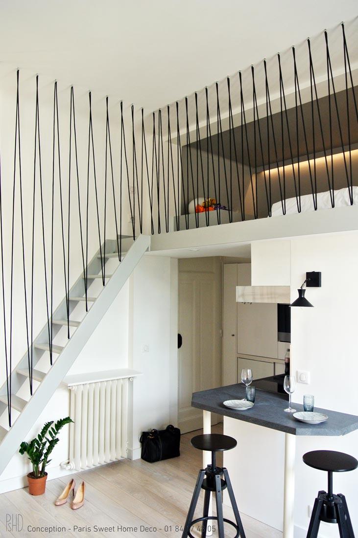 paris sweet home deco Airbnb champs elysées rénovation décoration mezzanine